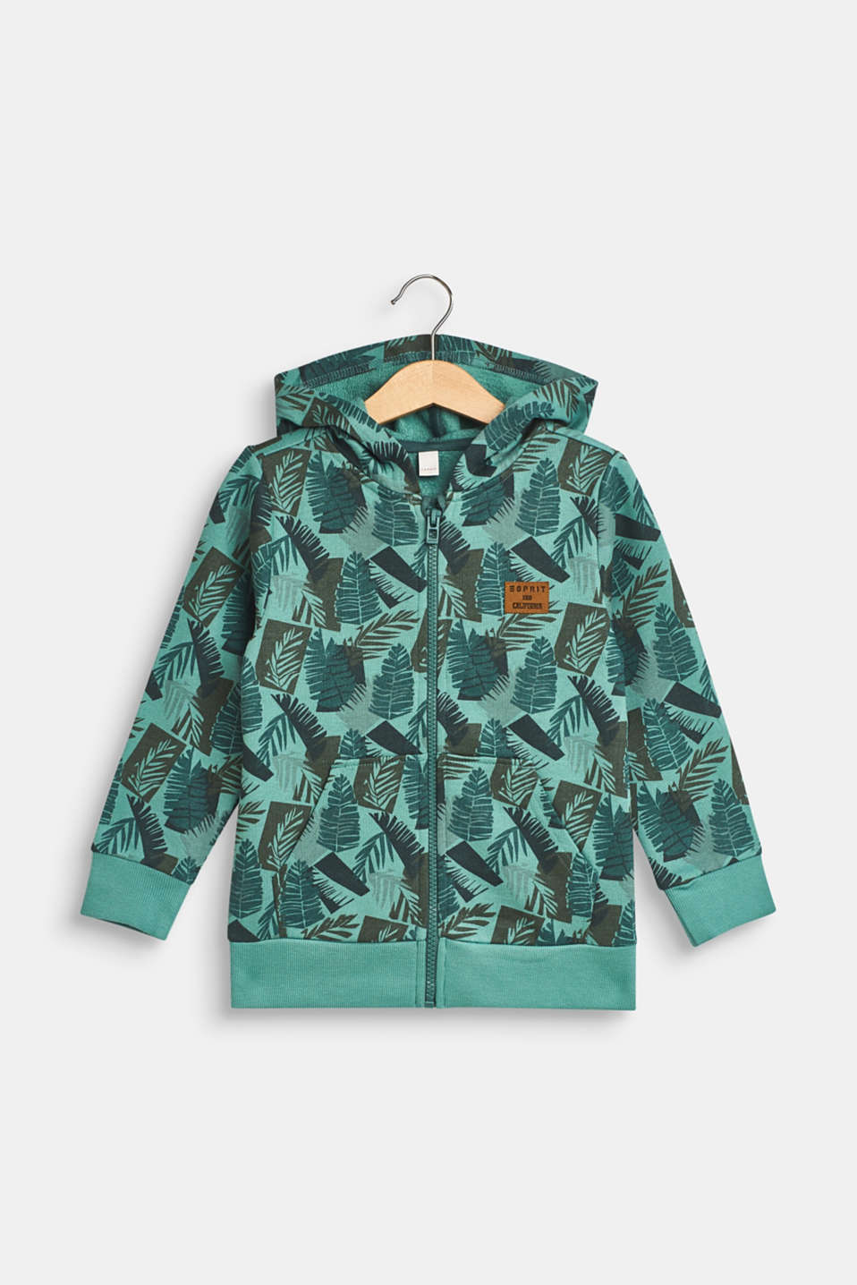 Esprit - Hoodie with tropical print, 100% cotton