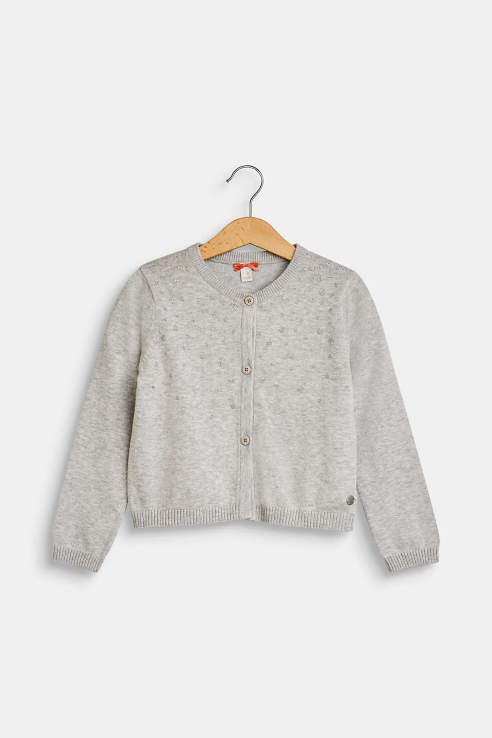 Esprit - Cardigan with glitter polka dots, 100% cotton