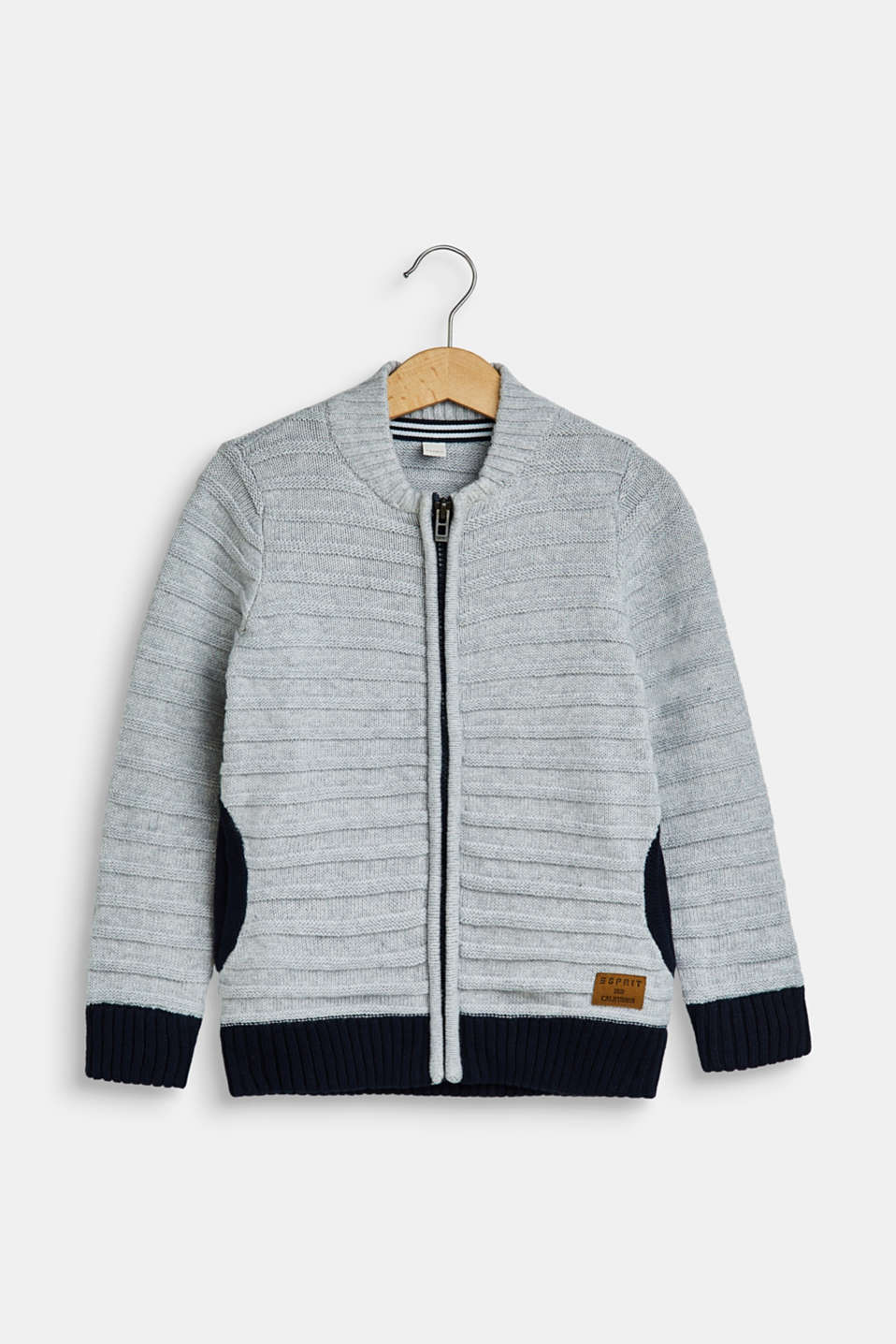 Esprit - Cardigan with textured stripes, 100% cotton