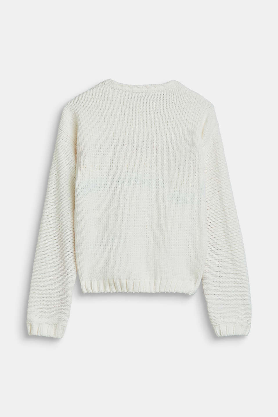 Velvety jumper with multicoloured stripes, LCOFF WHITE, detail image number 1