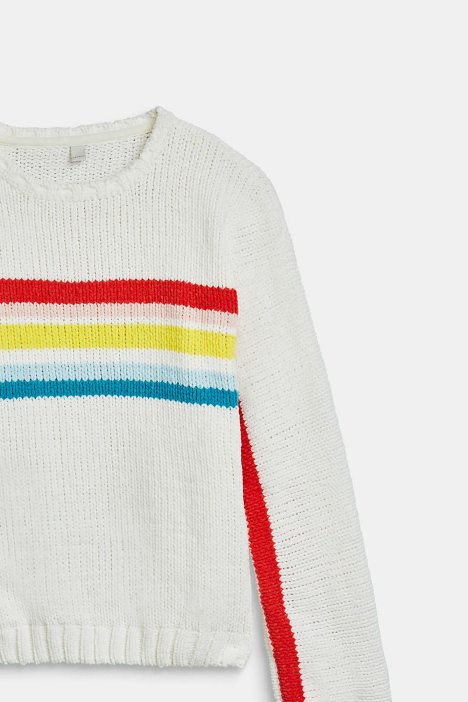 Velvety jumper with multicoloured stripes, LCOFF WHITE, detail image number 2