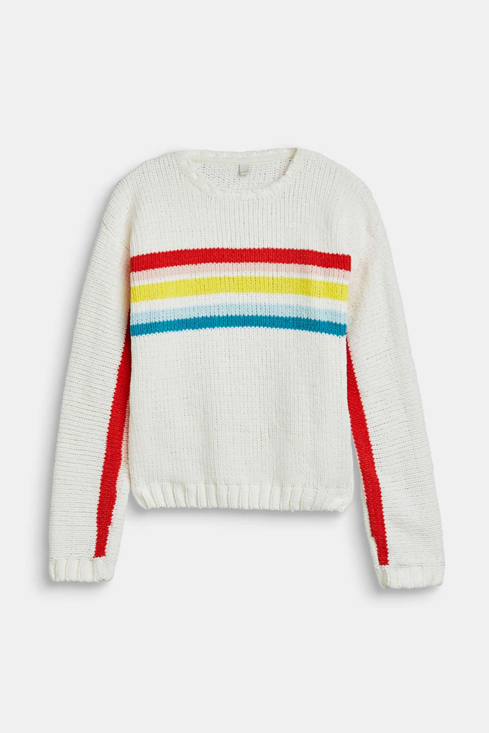 Velvety jumper with multicoloured stripes, LCOFF WHITE, detail image number 0