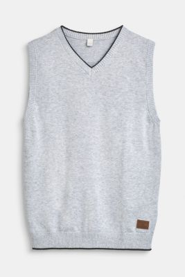 Sleeveless jumper with decorative stripes, 100% cotton, LCHEATHER SILVER, detail