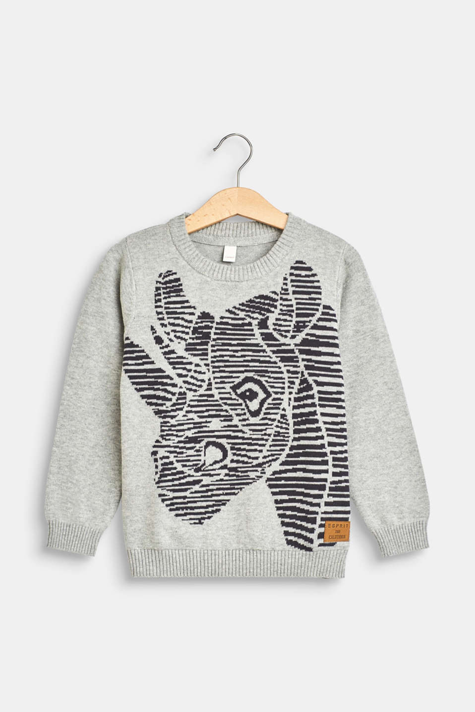 Esprit - Knitted jumper with a rhino pattern, 100% cotton