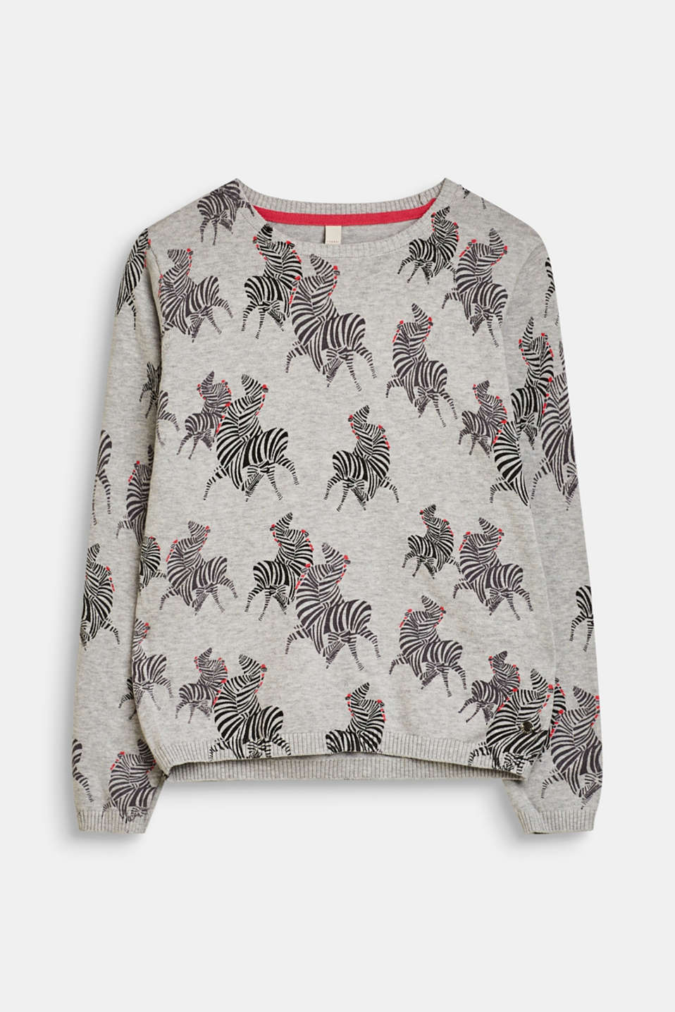 Esprit - Jumper with a zebra print, 100% cotton