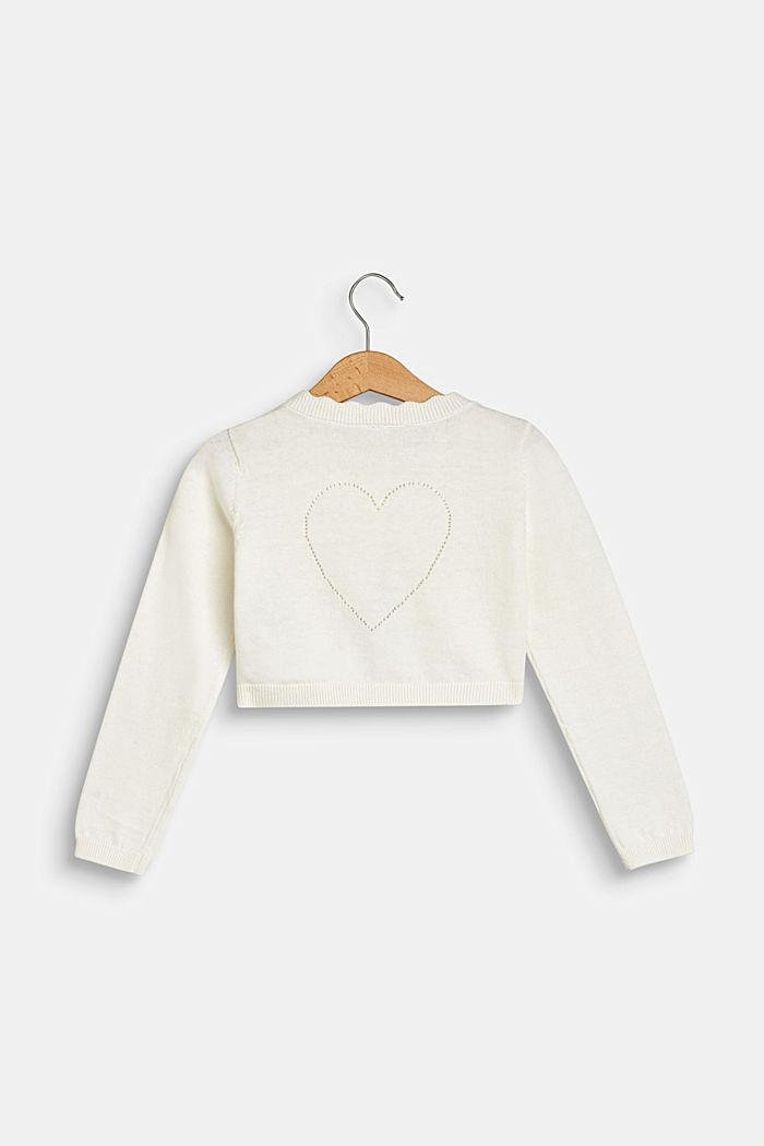 Bolero de punto con motivo de corazón calado, 100% algodón, OFF WHITE, detail image number 1