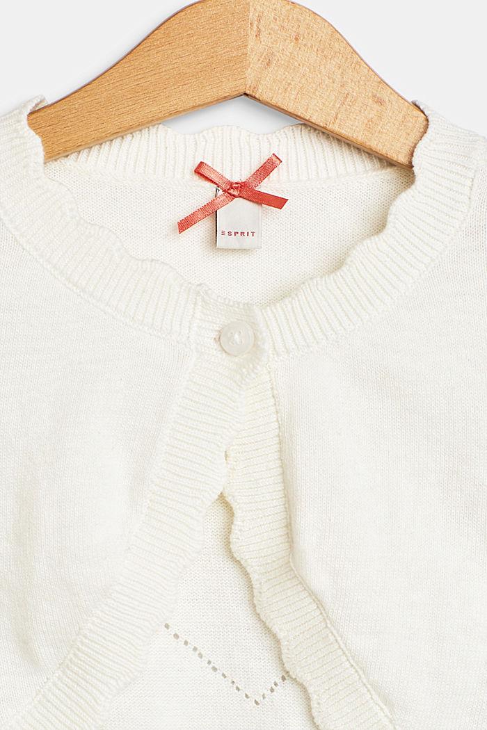 Bolero de punto con motivo de corazón calado, 100% algodón, OFF WHITE, detail image number 2