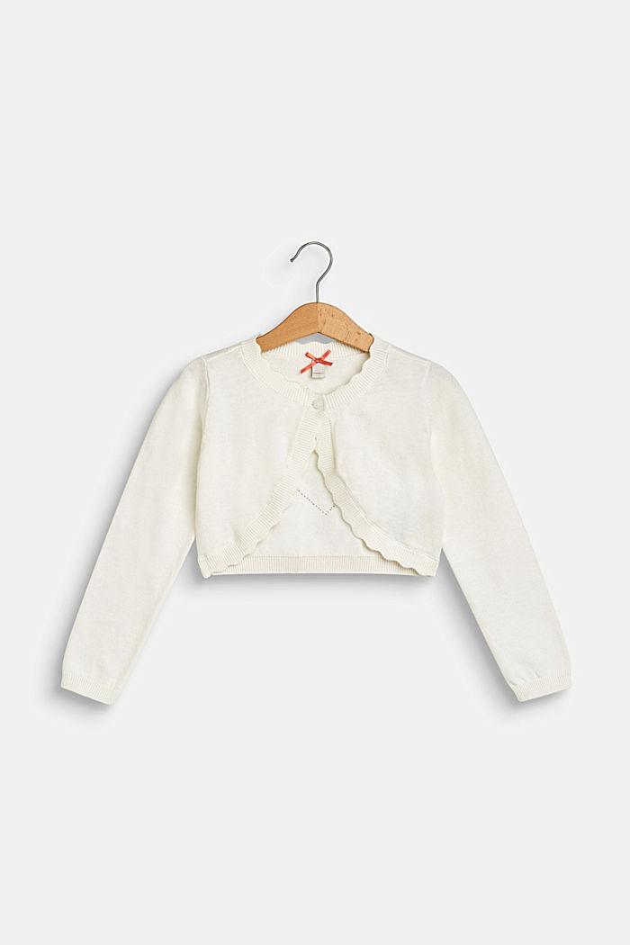 Bolero de punto con motivo de corazón calado, 100% algodón, OFF WHITE, detail image number 0