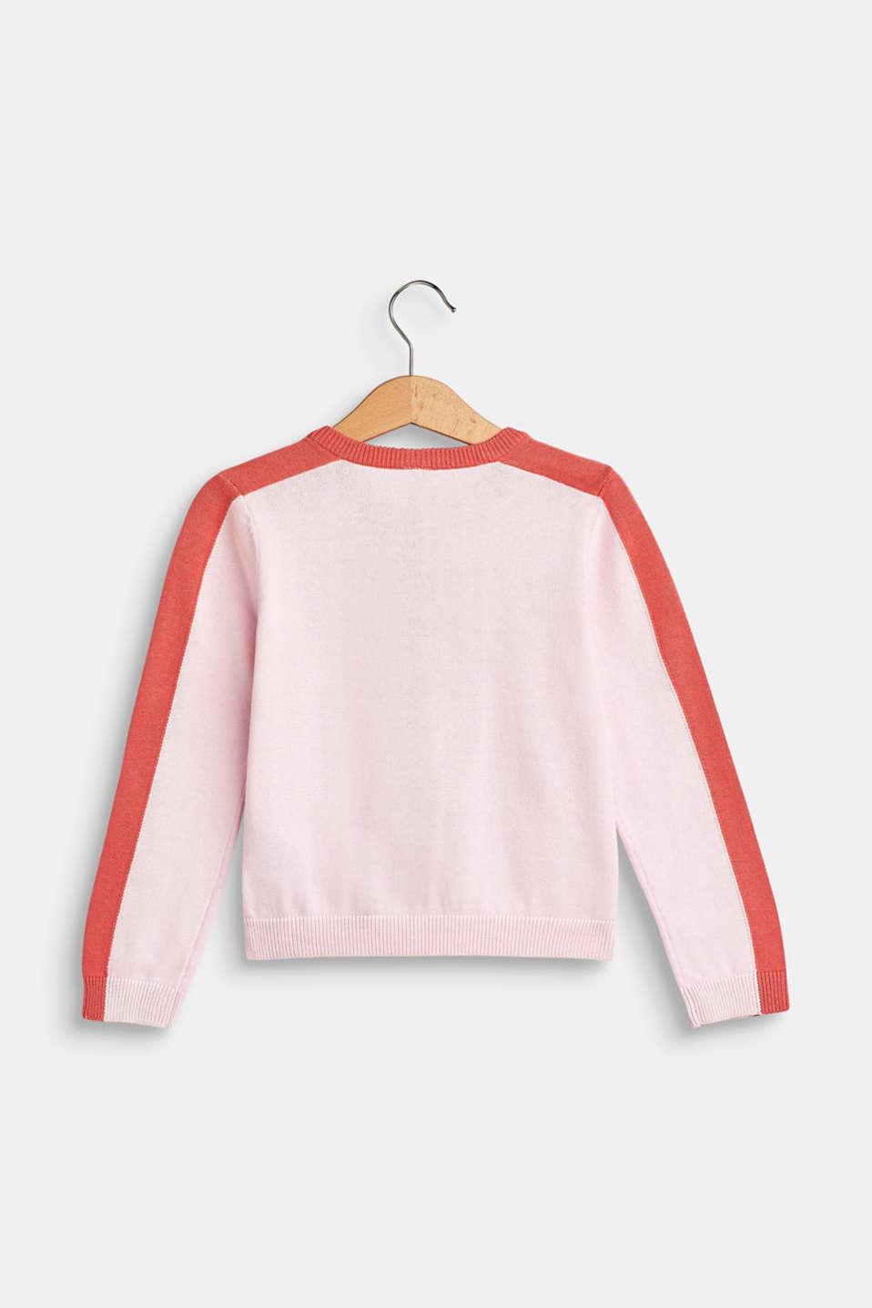 Colour block cardigan, 100% cotton, BLUSH, detail image number 1