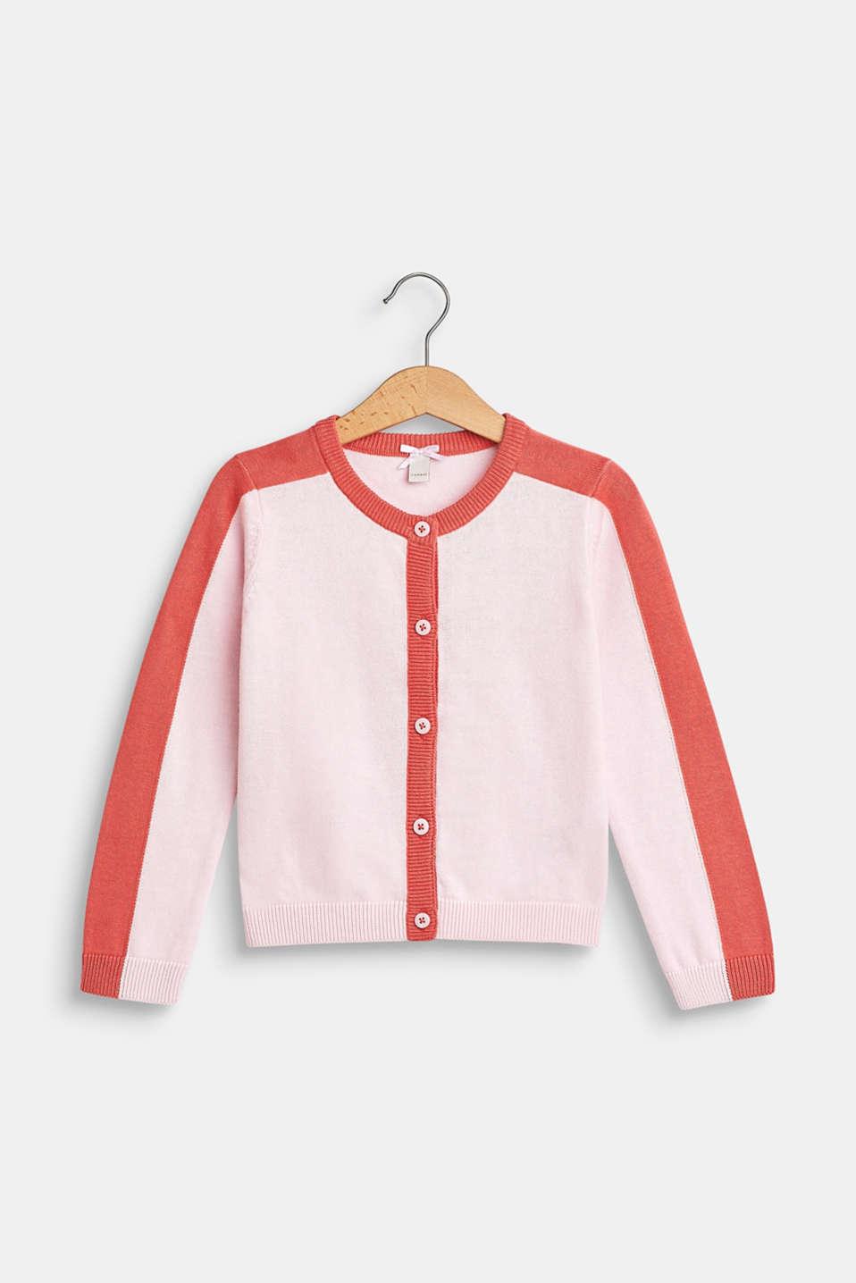 Colour block cardigan, 100% cotton, BLUSH, detail image number 0