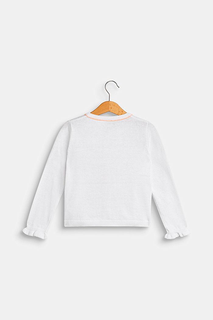 Cardigan mit Paspelierungen, 100% Baumwolle, WHITE, detail image number 1