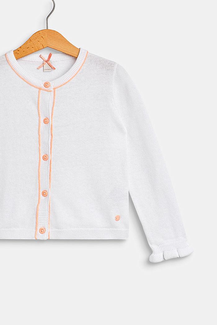 Cardigan mit Paspelierungen, 100% Baumwolle, WHITE, detail image number 2