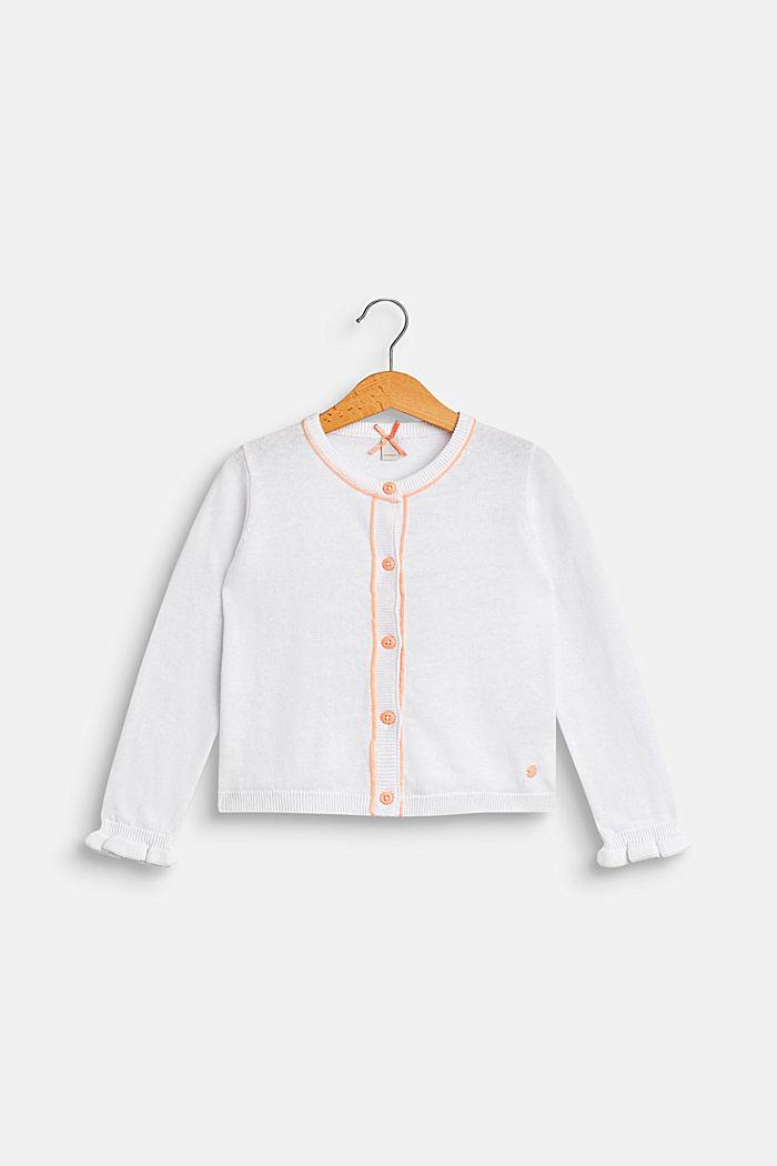 Cardigan mit Paspelierungen, 100% Baumwolle, WHITE, detail image number 0