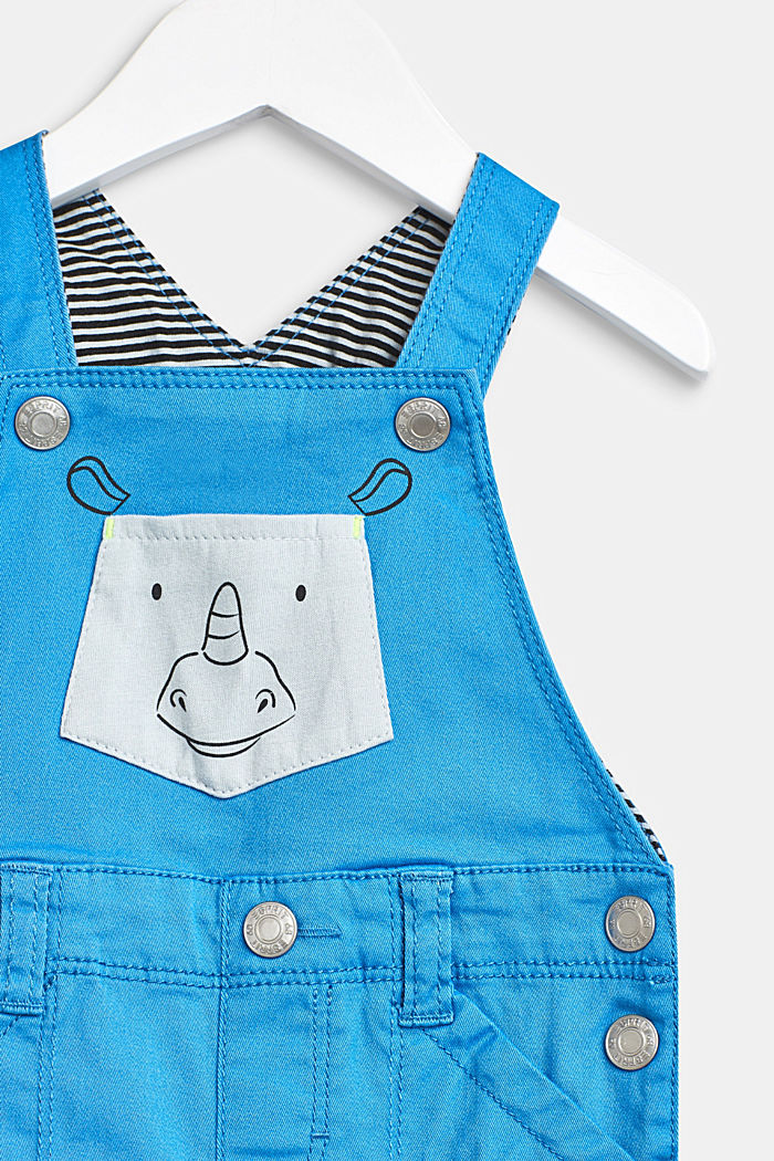 Dungarees with striped details and a rhino pocket, LCAZUR BLUE, detail image number 2