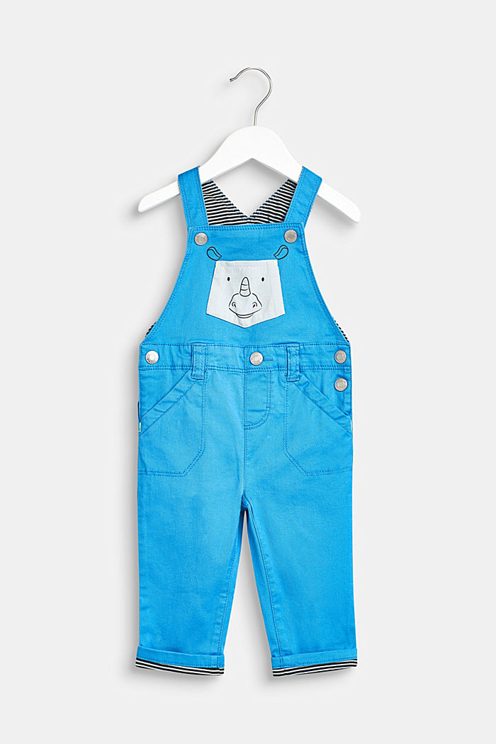 Dungarees with striped details and a rhino pocket, LCAZUR BLUE, detail image number 0