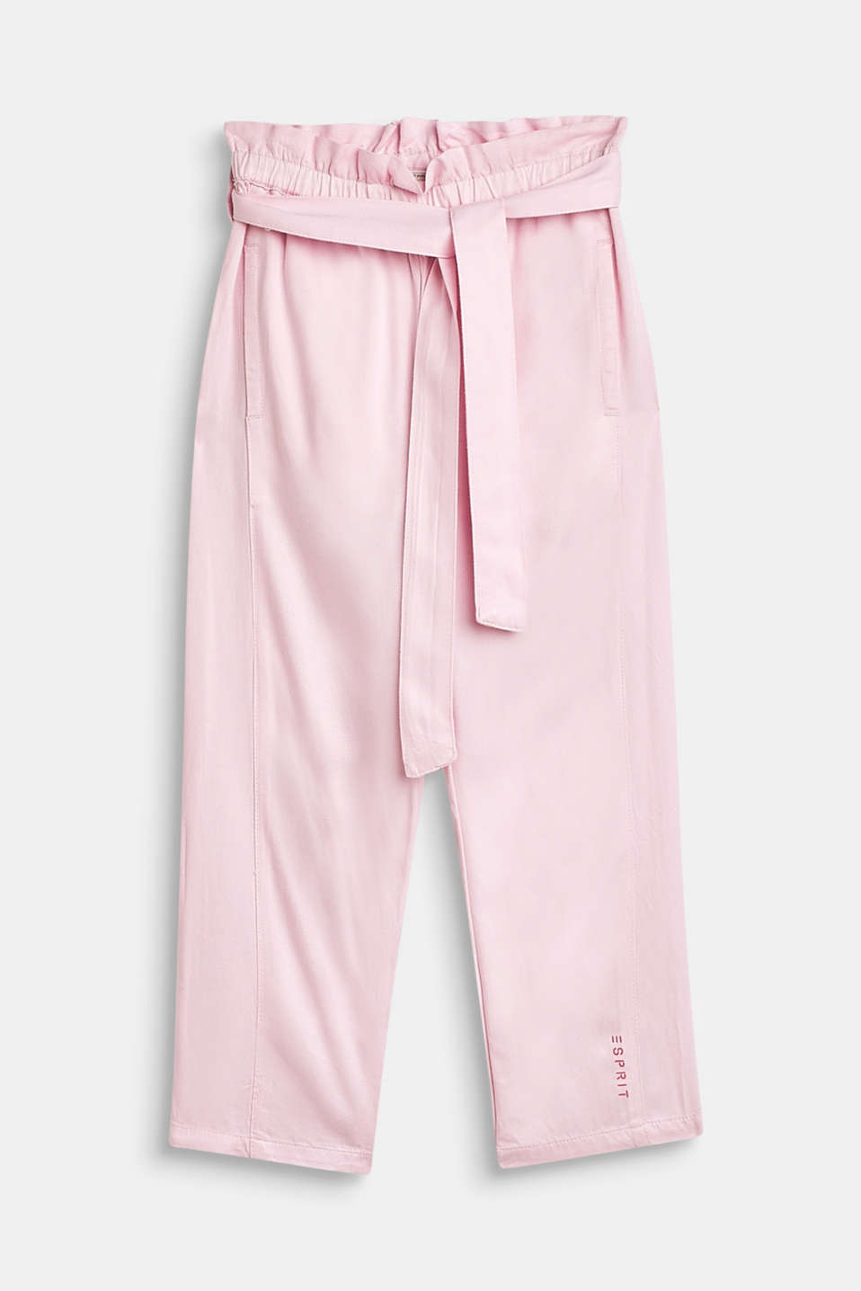 Flowing trousers in a paper bag style, BLUSH, detail image number 0