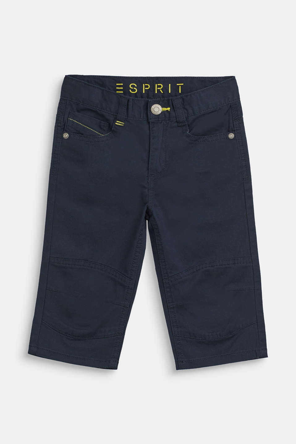 Esprit - Stretch cotton 3/4 trousers with an adjustable waistband