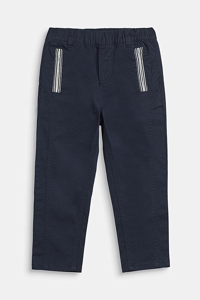 Wijde broek met elastische band, katoen-stretch, NAVY BLUE, detail image number 0