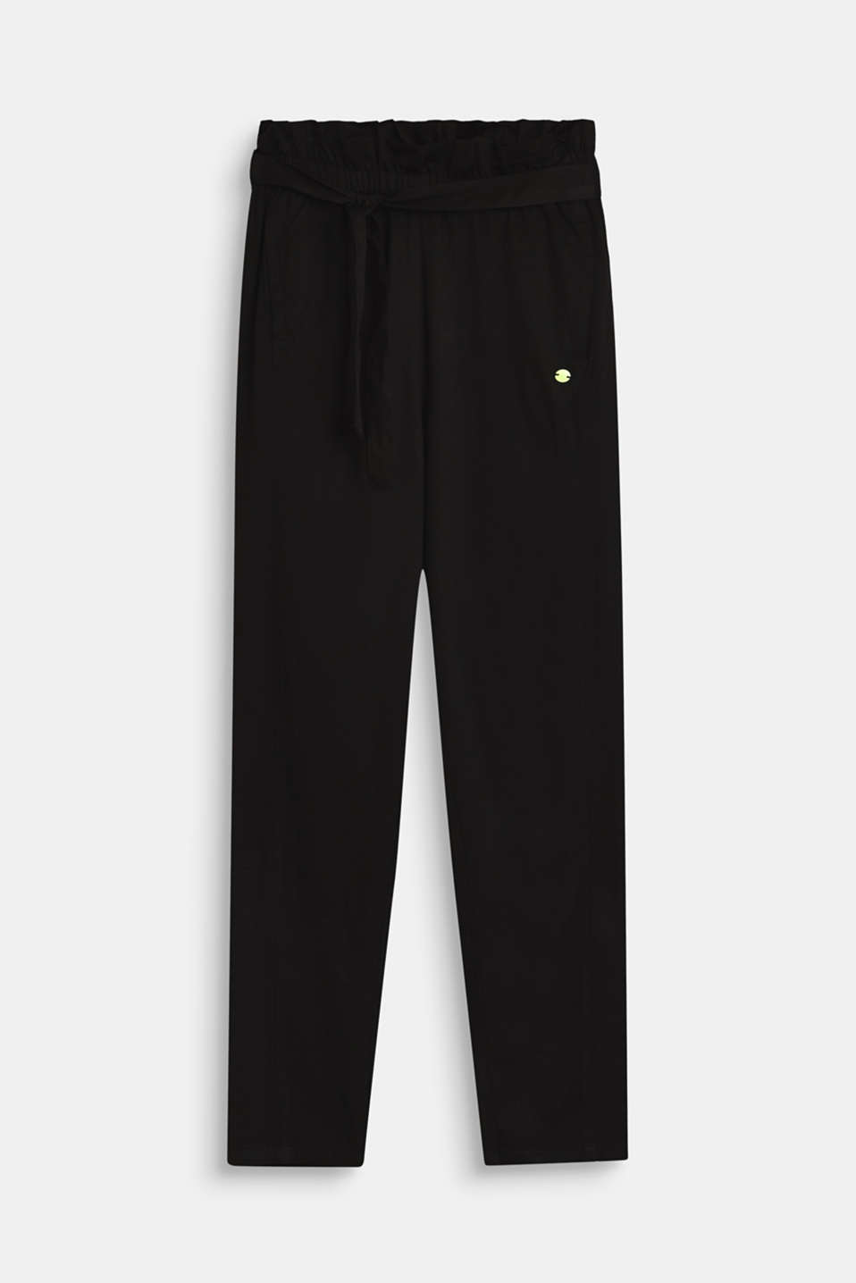 Esprit - Flowing woven trousers with a paperbag waistband