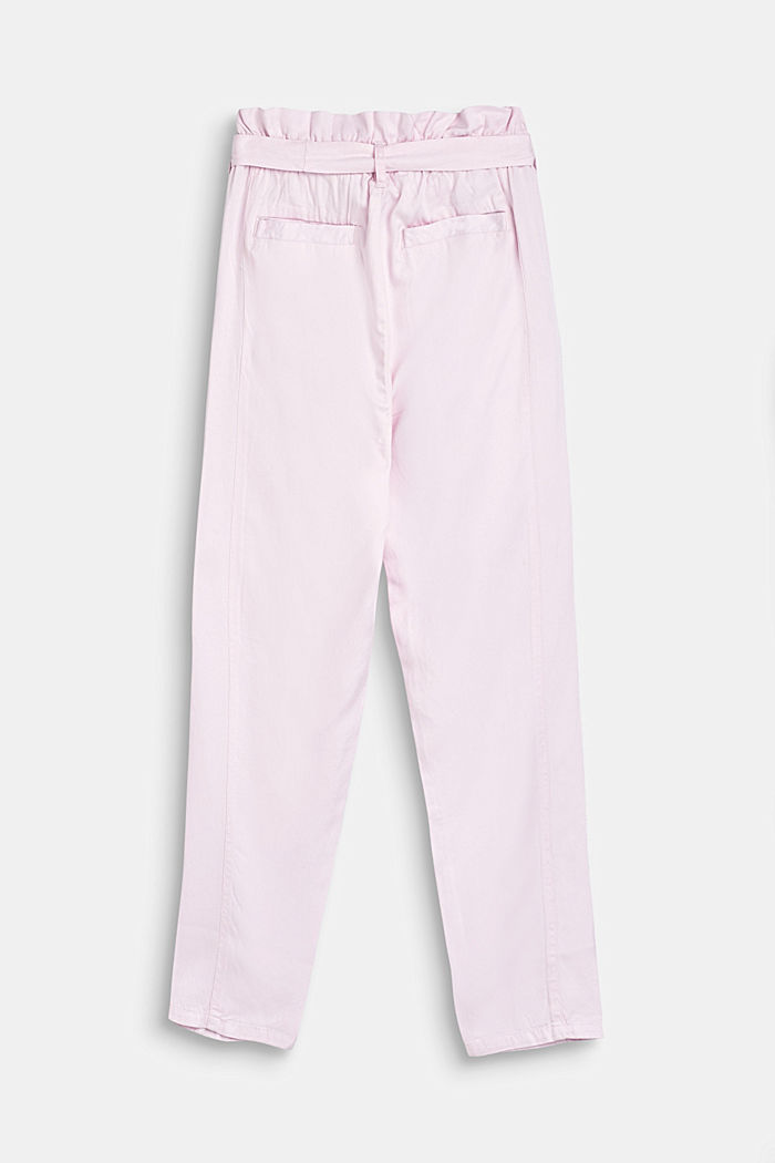 Flowing woven trousers with a paperbag waistband, BLUSH, detail image number 1