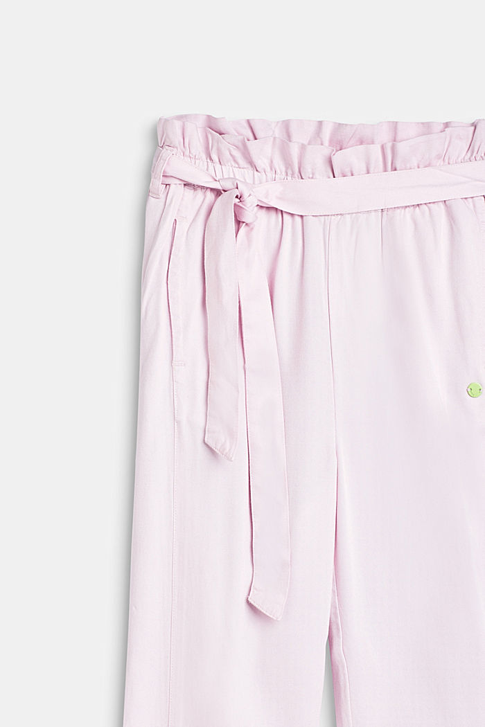 Flowing woven trousers with a paperbag waistband, BLUSH, detail image number 2