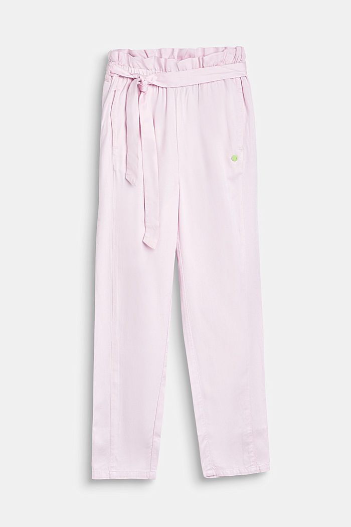 Flowing woven trousers with a paperbag waistband, BLUSH, detail image number 0