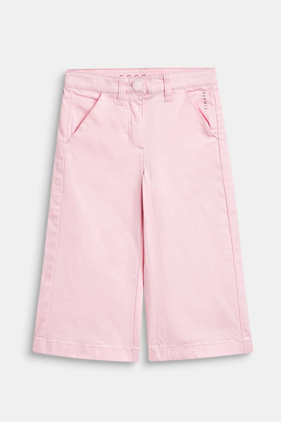 Stretch cotton culottes with an adjustable waistband, BLUSH, detail image number 0