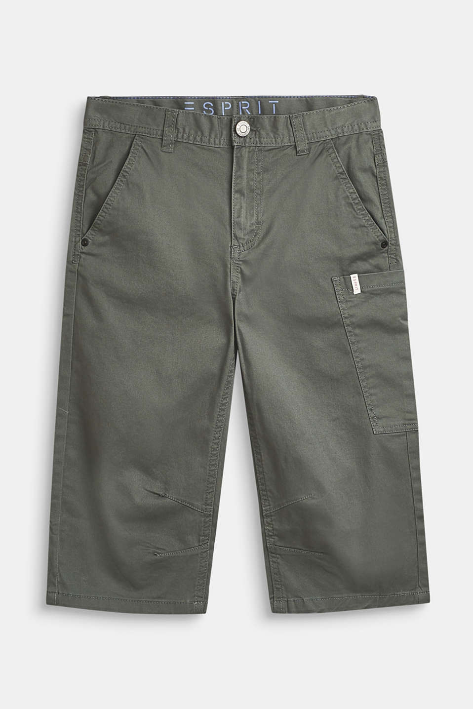 Wide cargo trousers in a 7/8 length, adjustable waistband, LCLIGHT KHAKI, detail image number 0