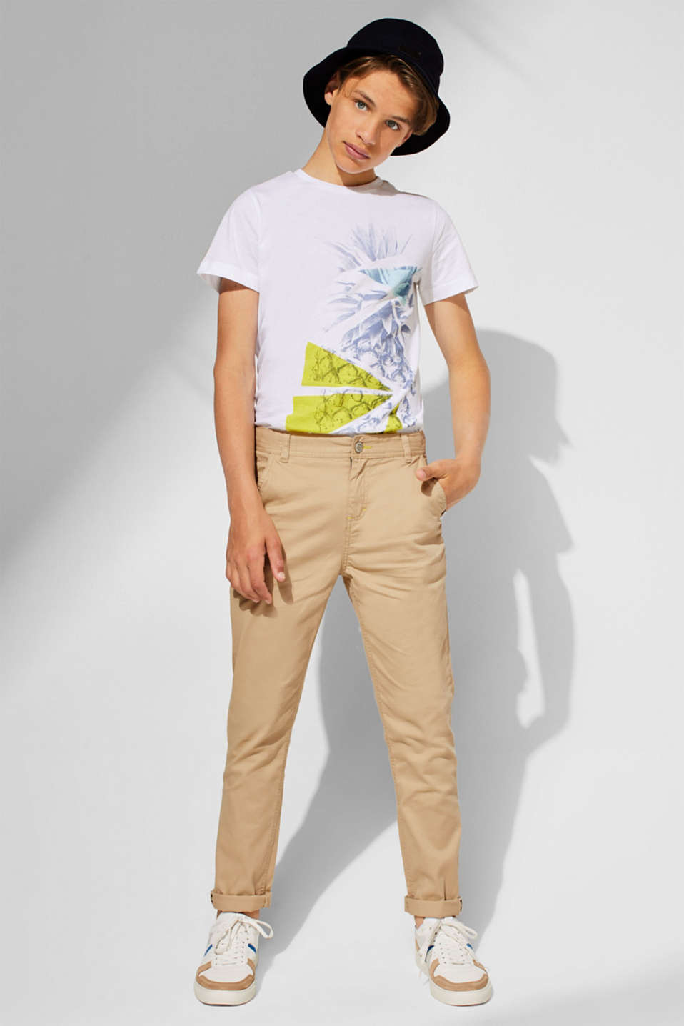 Stretch cotton chinos with an adjustable waistband, LCBEIGE, detail image number 2