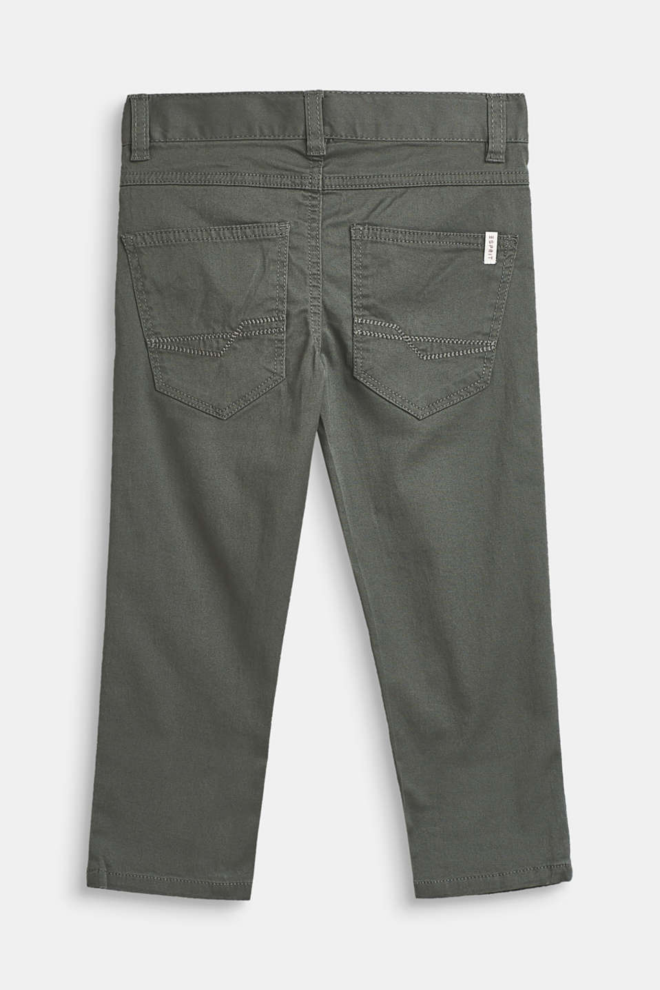 Stretch cotton trousers with an adjustable waistband, LIGHT KHAKI, detail image number 1