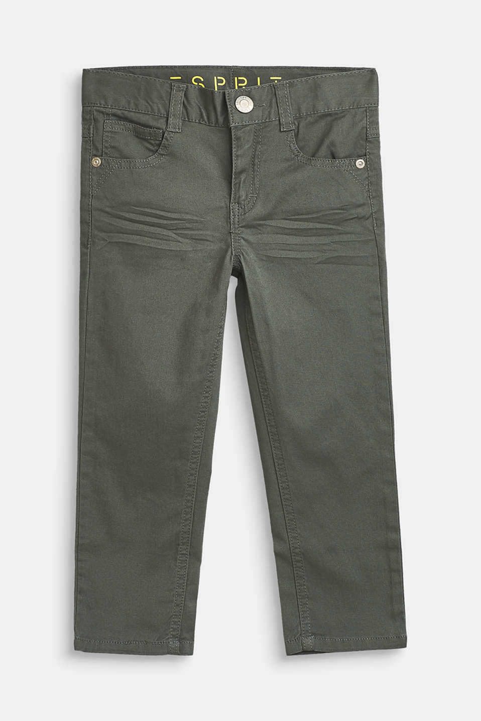 Stretch cotton trousers with an adjustable waistband, LIGHT KHAKI, detail image number 0