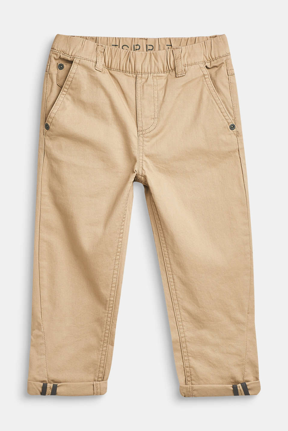 Esprit - Stretch cotton trousers with an elasticated waistband