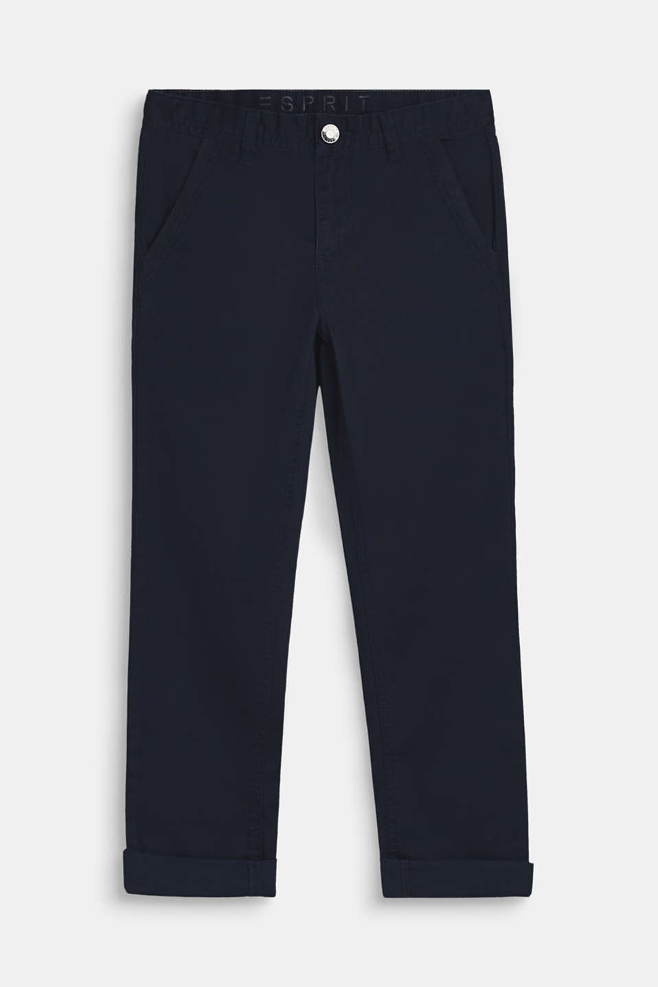 Esprit - Stretch cotton trousers with an adjustable waistband