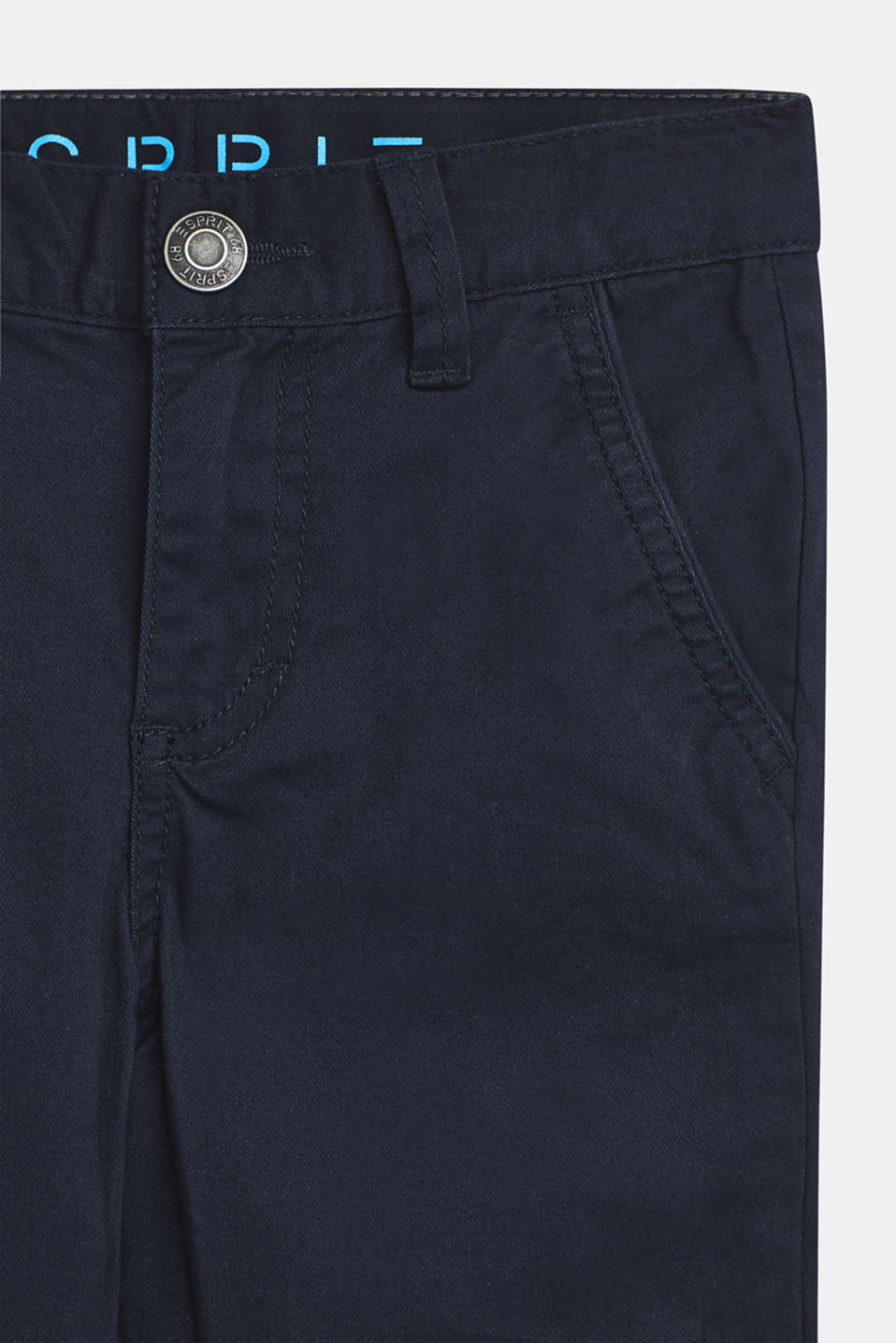 Stretch cotton trousers with an adjustable waistband, NAVY BLUE, detail image number 1