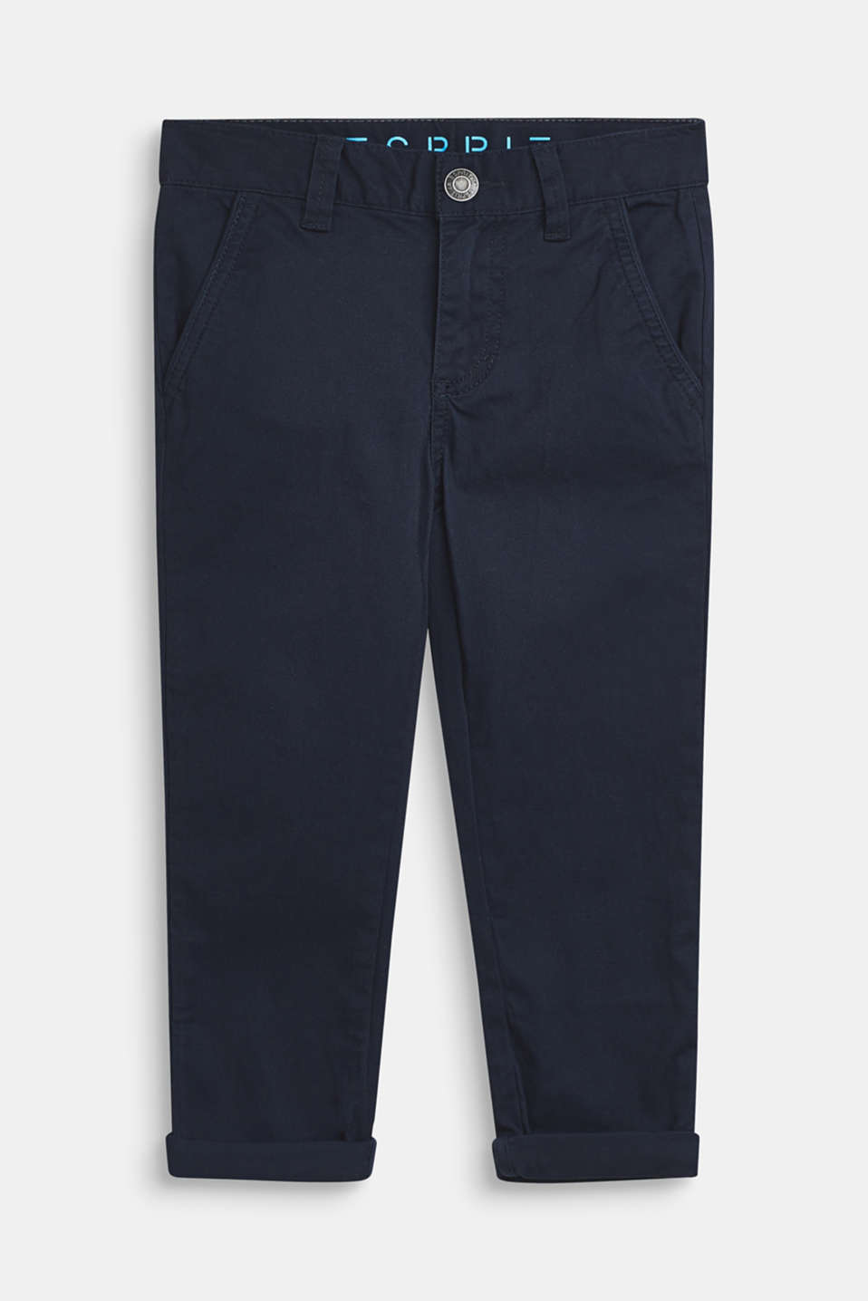 Stretch cotton trousers with an adjustable waistband, NAVY BLUE, detail image number 0