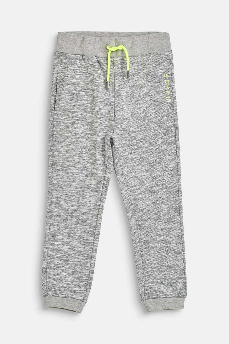 Esprit - Melange tracksuit bottoms with neon details, 100% cotton