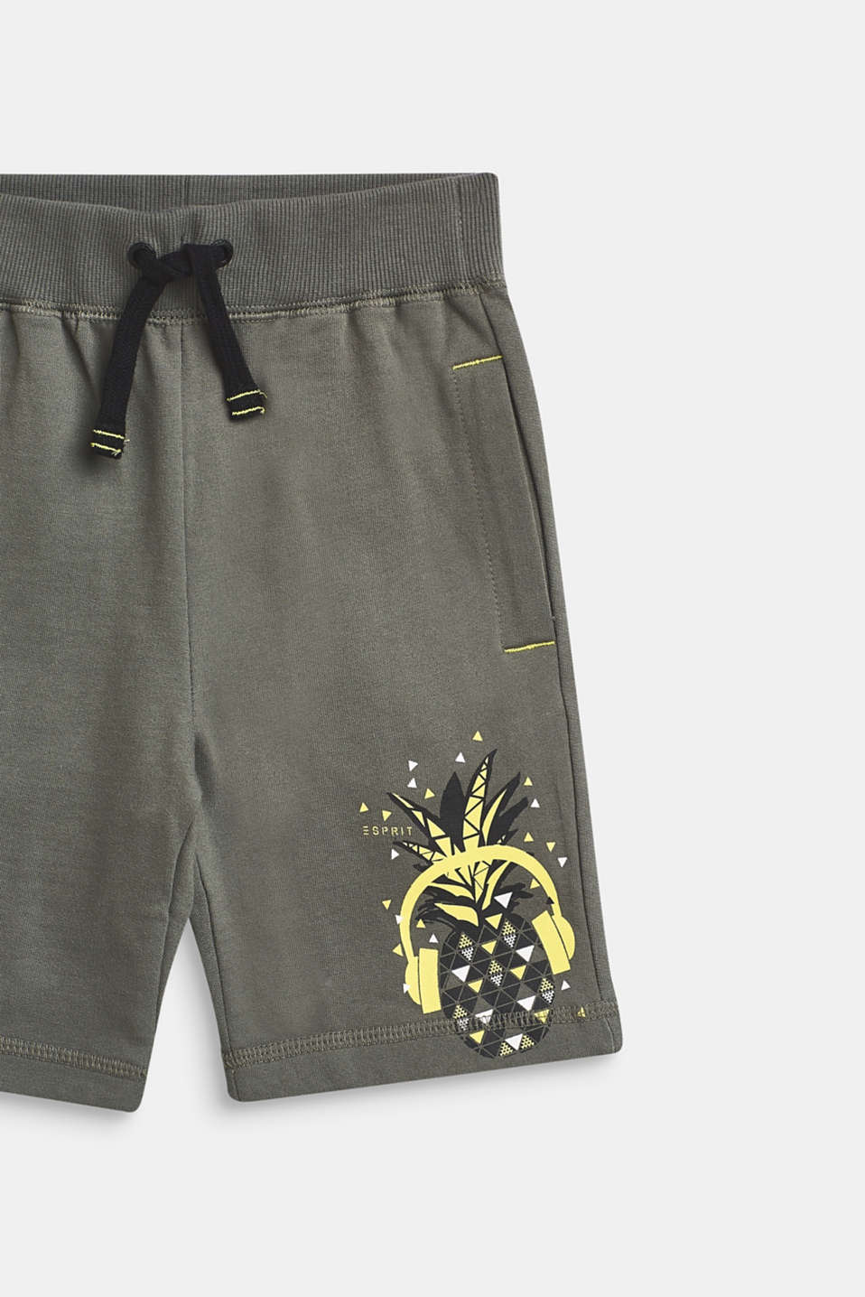 Sweatshirt shorts with a print, 100% cotton, LIGHT KHAKI, detail image number 2