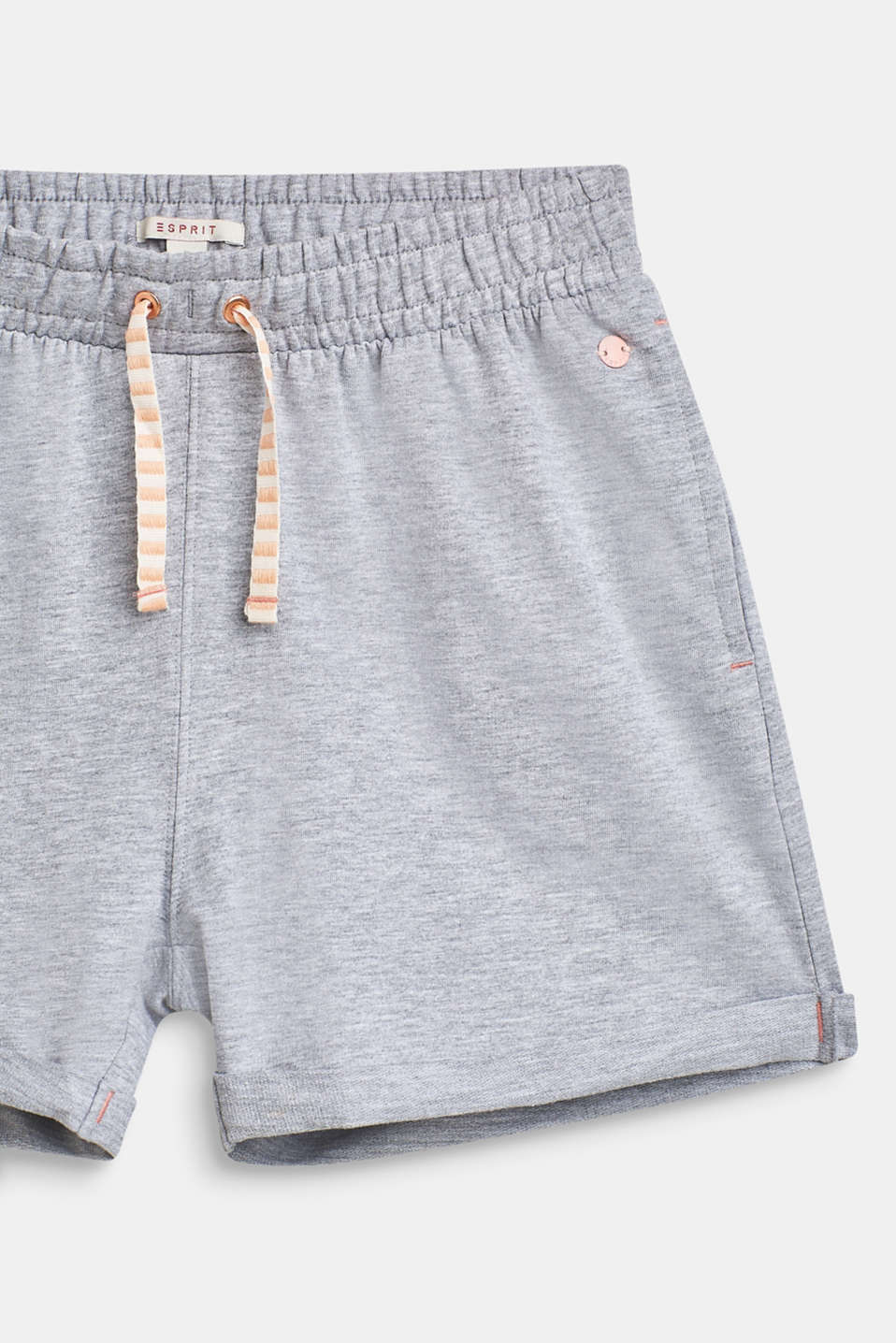 Blended cotton sweat shorts, LCHEATHER SILVER, detail image number 2
