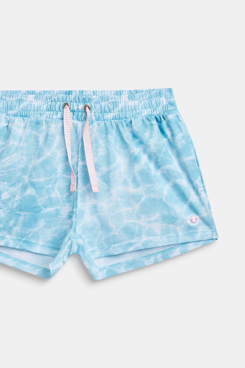 Jersey shorts with batik print, LCICE BLUE, detail image number 2