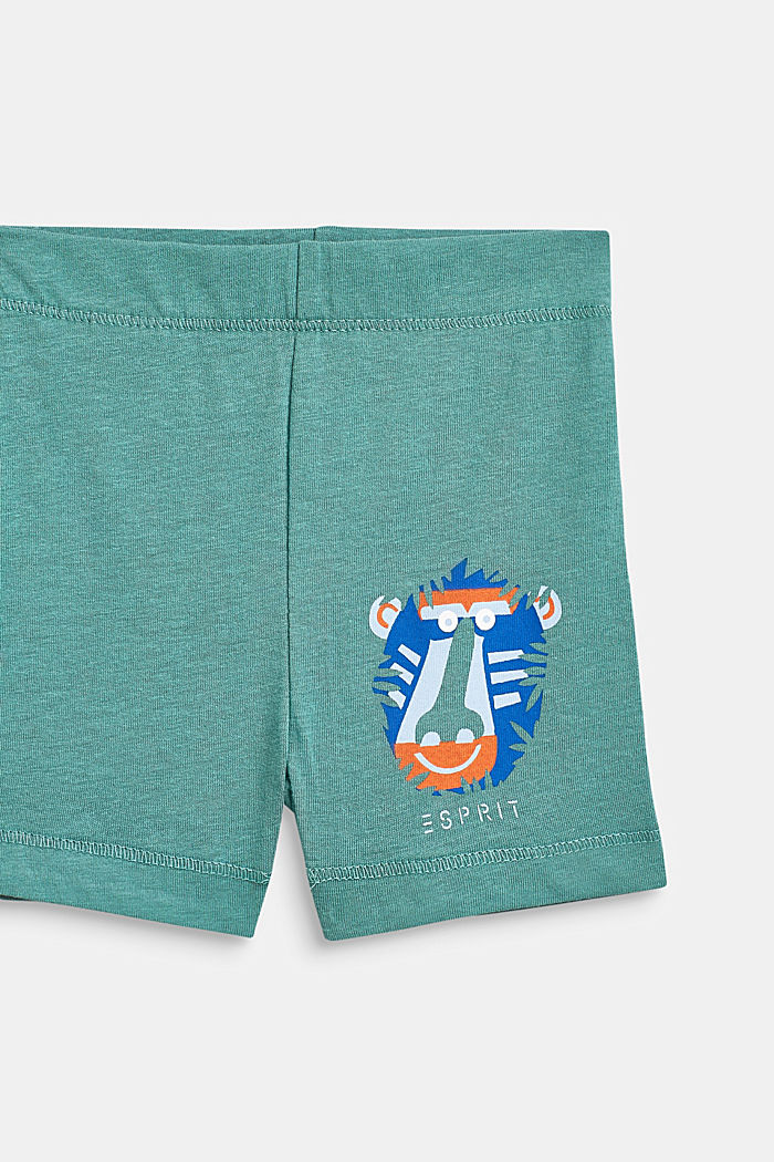 Jersey shorts with an animal motif, 100% cotton, SOFT GREEN, detail image number 2