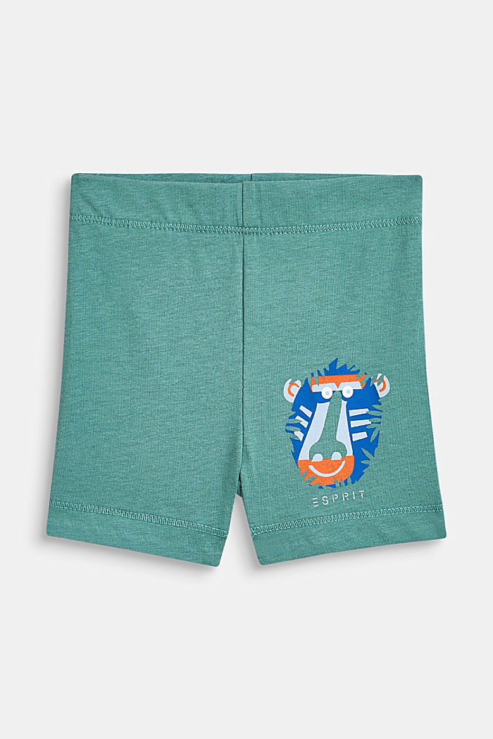 Jersey shorts with an animal motif, 100% cotton, SOFT GREEN, detail image number 0