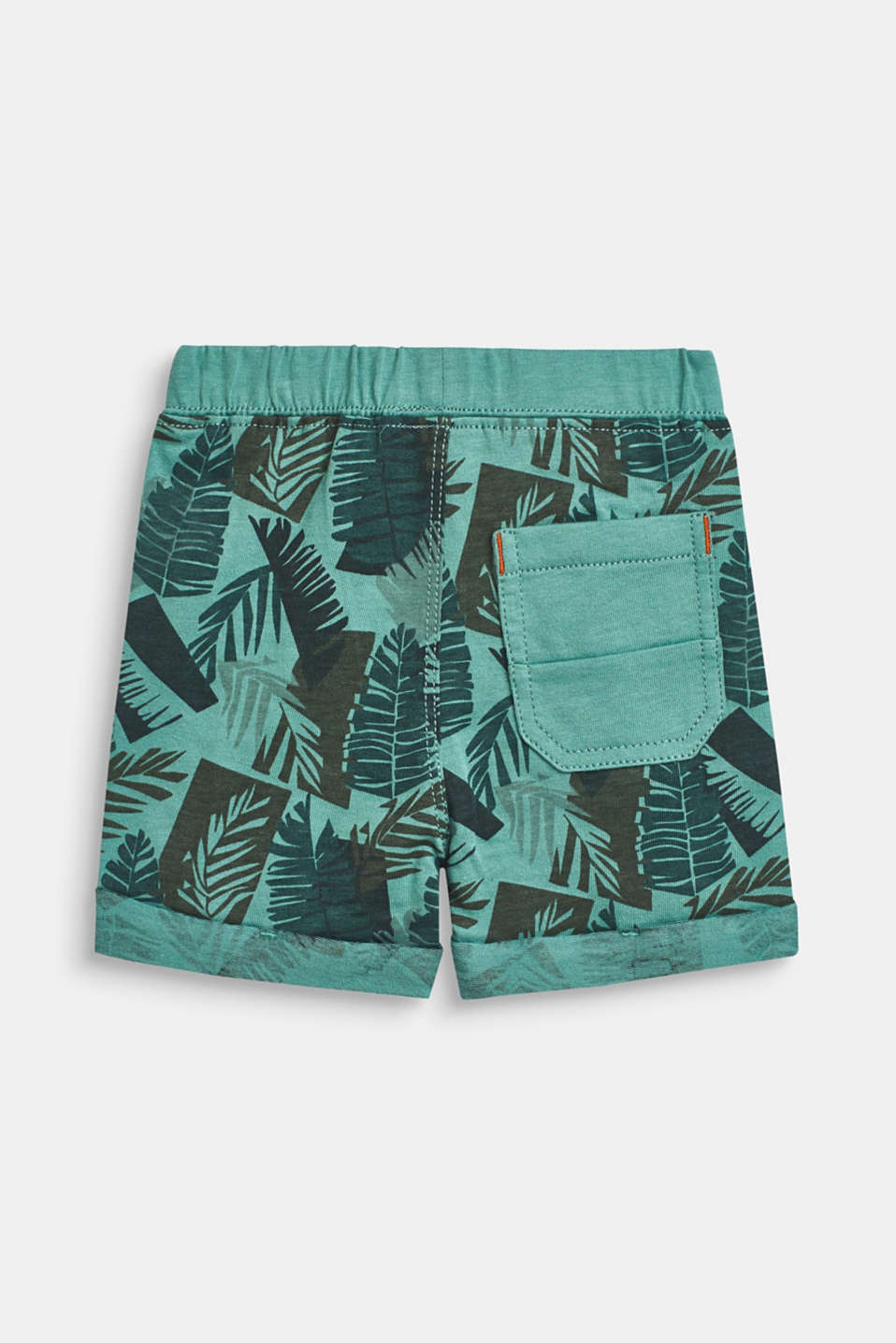 Sweatshirt shorts with a tropical print, 100% cotton, LCSOFT GREEN, detail image number 1