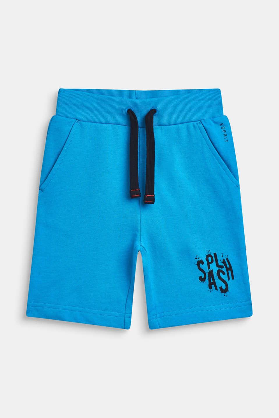 Sweatshirt Bermudas with print, 100% cotton, BRIGHT BLUE, detail image number 0