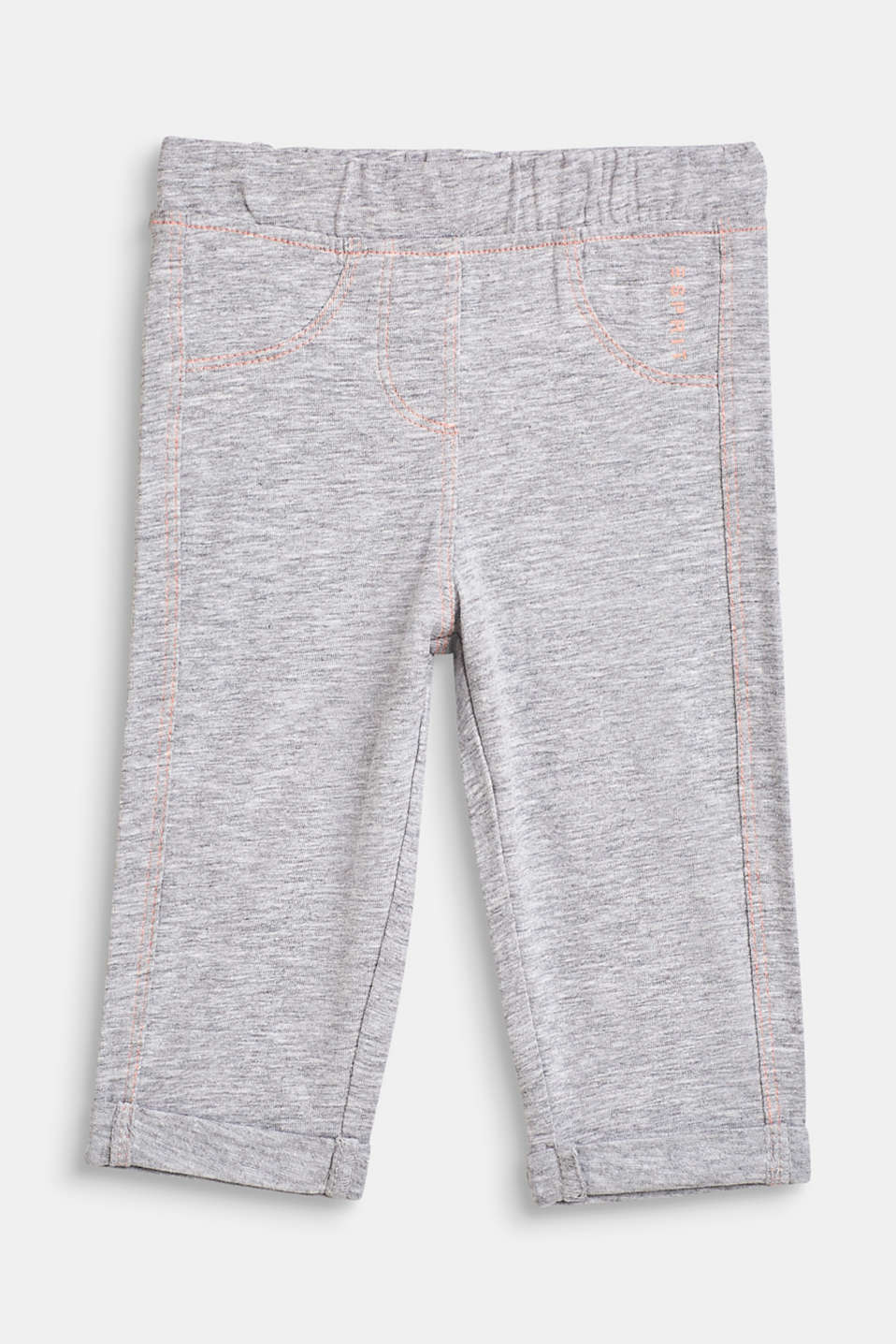 Melange blended cotton leggings, LCHEATHER SILVER, detail image number 0