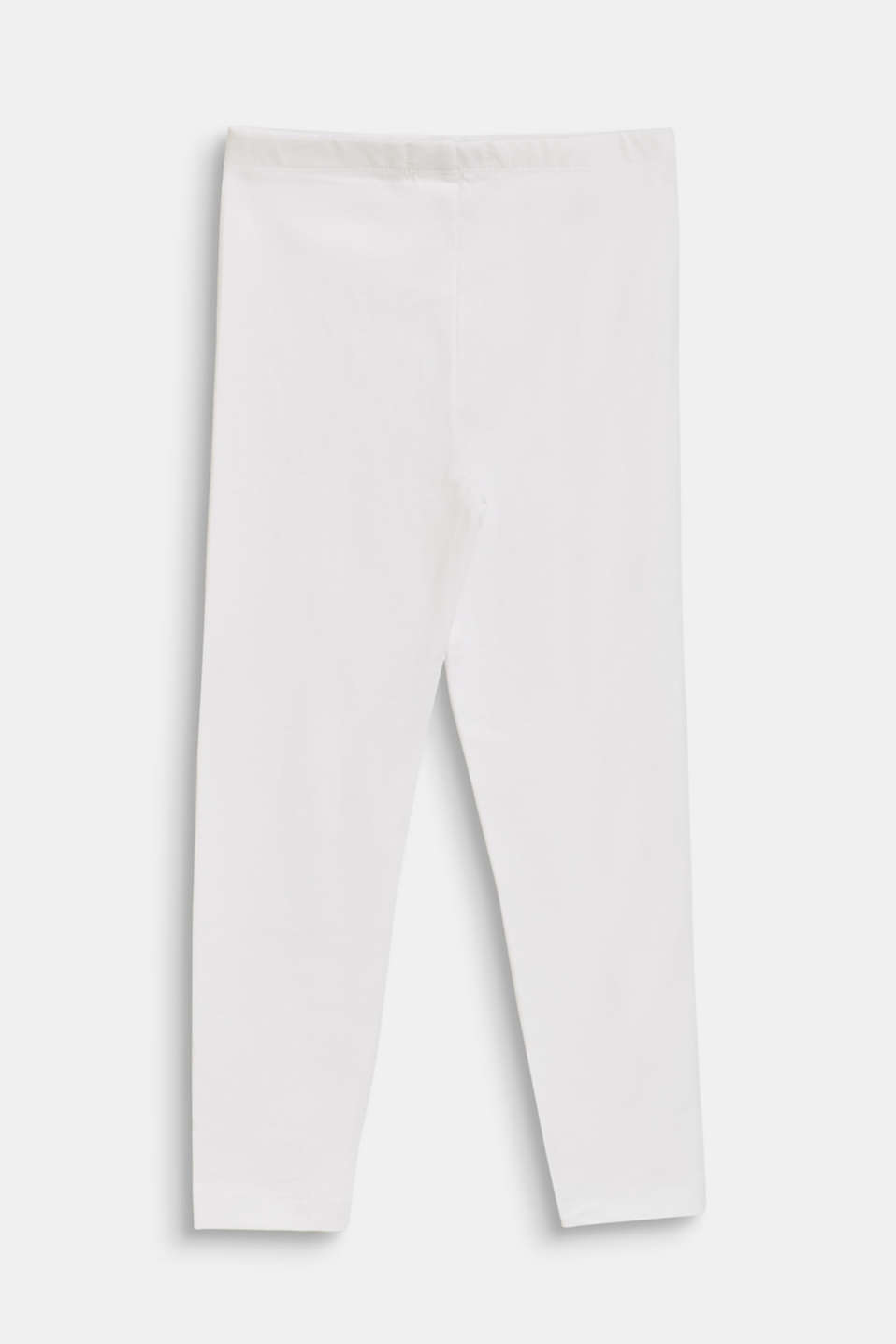 Stretch cotton leggings, WHITE, detail image number 1