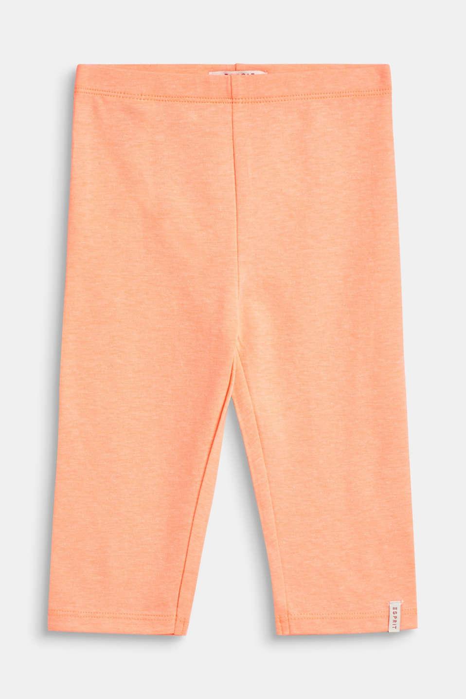 Melange, capri-length leggings, NEON CORAL, detail image number 0