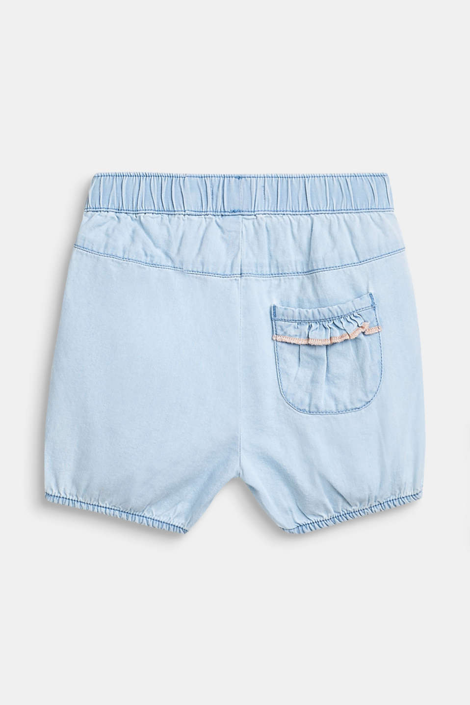 Denim shorts with a flounce detail, 100% cotton, LCBLUE LIGHT WAS, detail image number 1