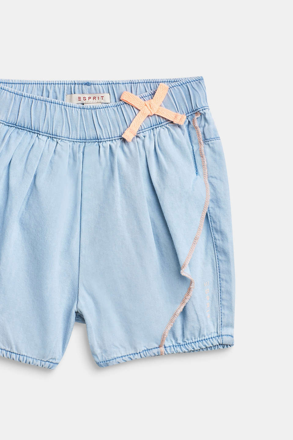 Denim shorts with a flounce detail, 100% cotton, LCBLUE LIGHT WAS, detail image number 2