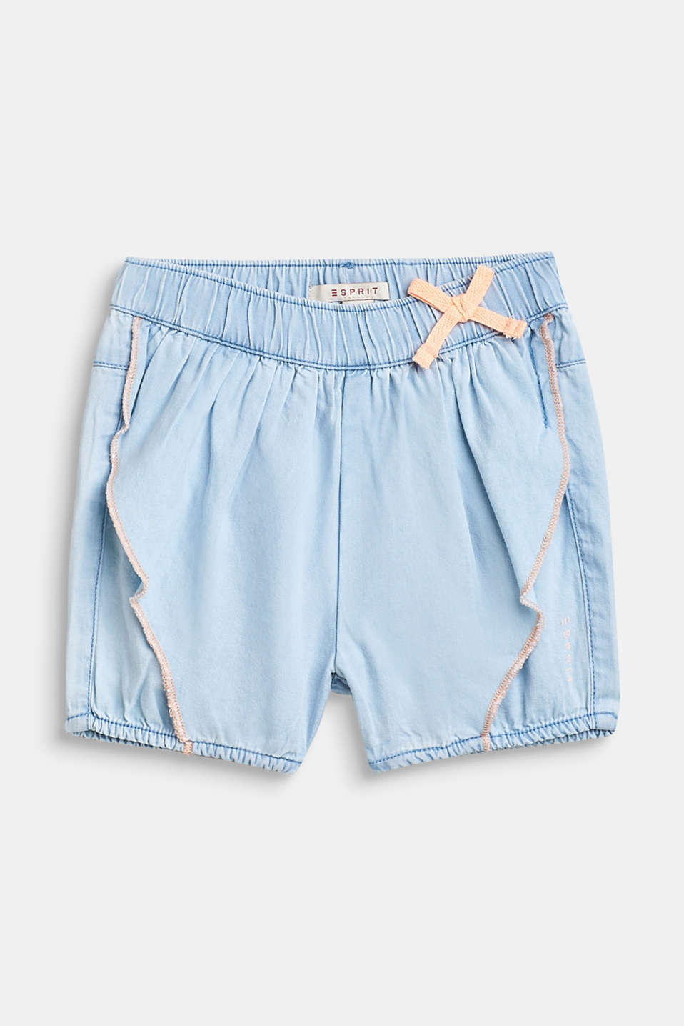 Esprit - Denim shorts with a flounce detail, 100% cotton