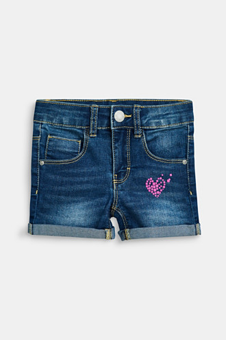 Denim shorts with a heart print and an adjustable waistband